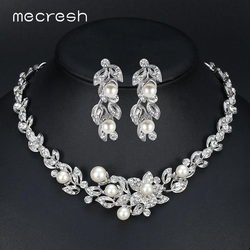 Aliexpress Com Buy New Fashion Necklace Earrings Bridal: Aliexpress.com : Buy Mecresh Simulated Pearl Bridal