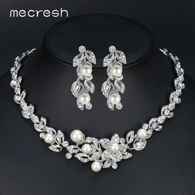 Mecresh Simulated Pearl Bridal Jewelry Sets Silver Color Crystal