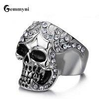 Brand Punk Retro Knuckles Men Male Ring Jewellery Stainless Steel Skull Biker Rock Big Rings Anel Masculino Bague Wholesale