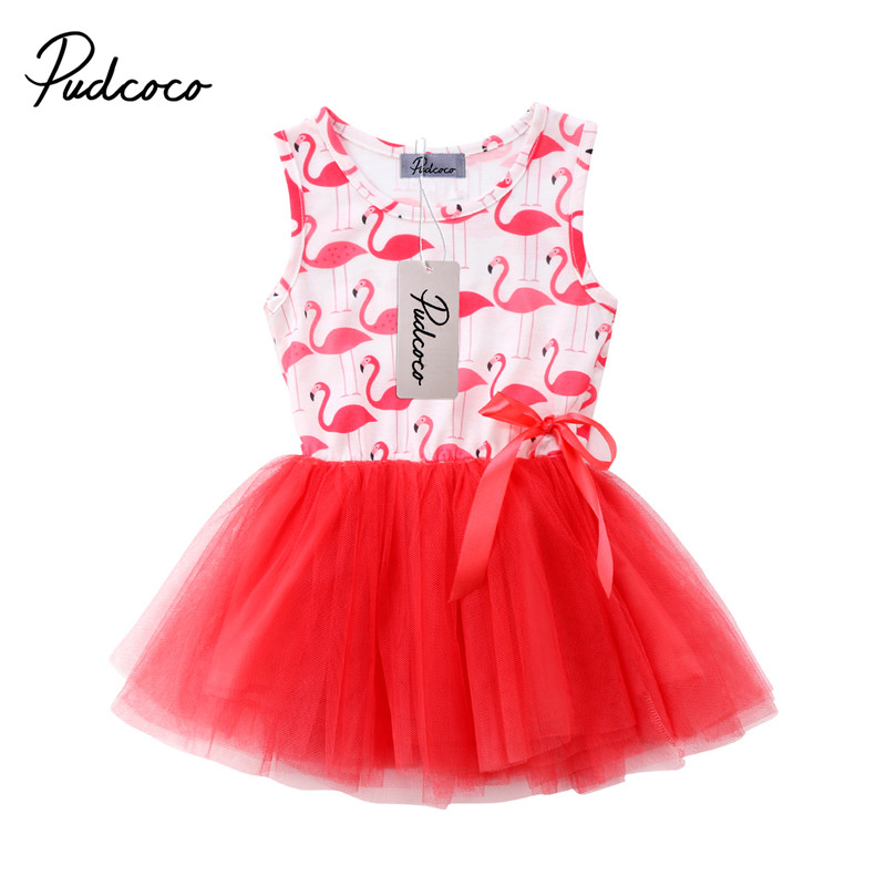 Newborn Baby Girls Sleeveless Princess Dresses Flamingo Print Sundress Summer Lace Tulle Party Dress наушники закрытого типа fostex th900 black limited edition