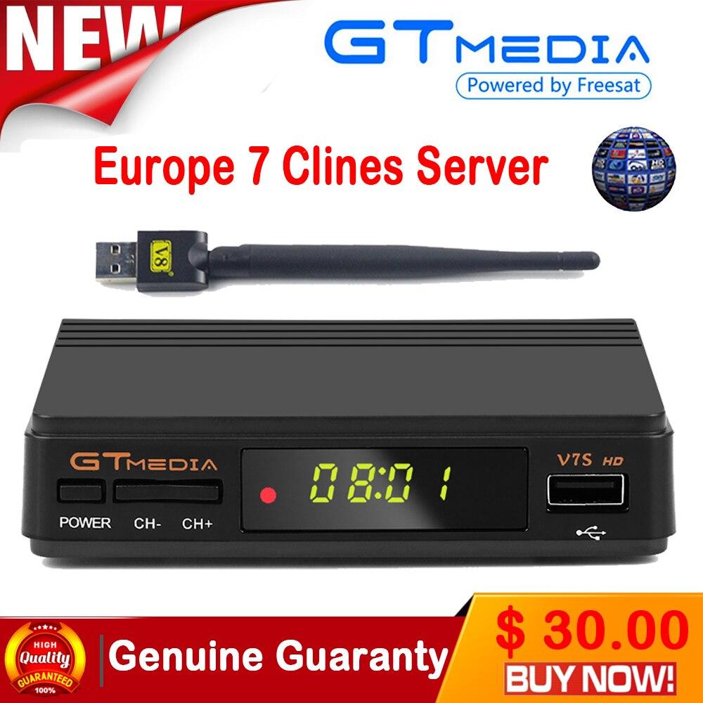 Original  V7S HD Satellite Receiver Full 1080P DVB-S2 HD Support C powervu youpron set top box power vu VS  V7 i box rs232 dvb s satellite smart sharing nagra 3 dongle black