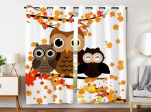 HommomH Curtains (2 Panel) Grommet Top Darkening Blackout Room Cute Owl Family Yellow Maple Leaf