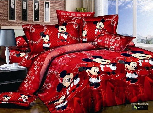 Rot Mickey Minnie Maus Bettwäsche Sets Disney Cartoon Bettdecke
