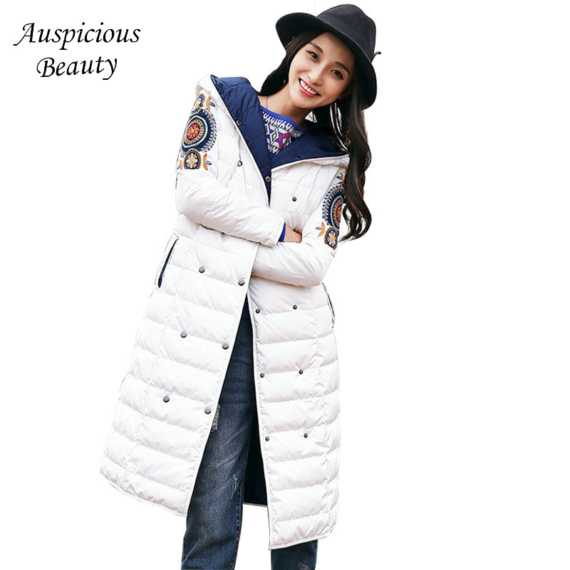 Women Winter New Down Coat For Womens Long Embroidery Floral Sweet Down Jacket Female Hooded White Duck Down Outerwear CX109