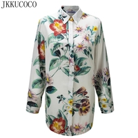 JKKUCOCO Women Shirt Long Style Thin Cotton Material Women Blouse Single Breasted Casual Shirts Flowers Print