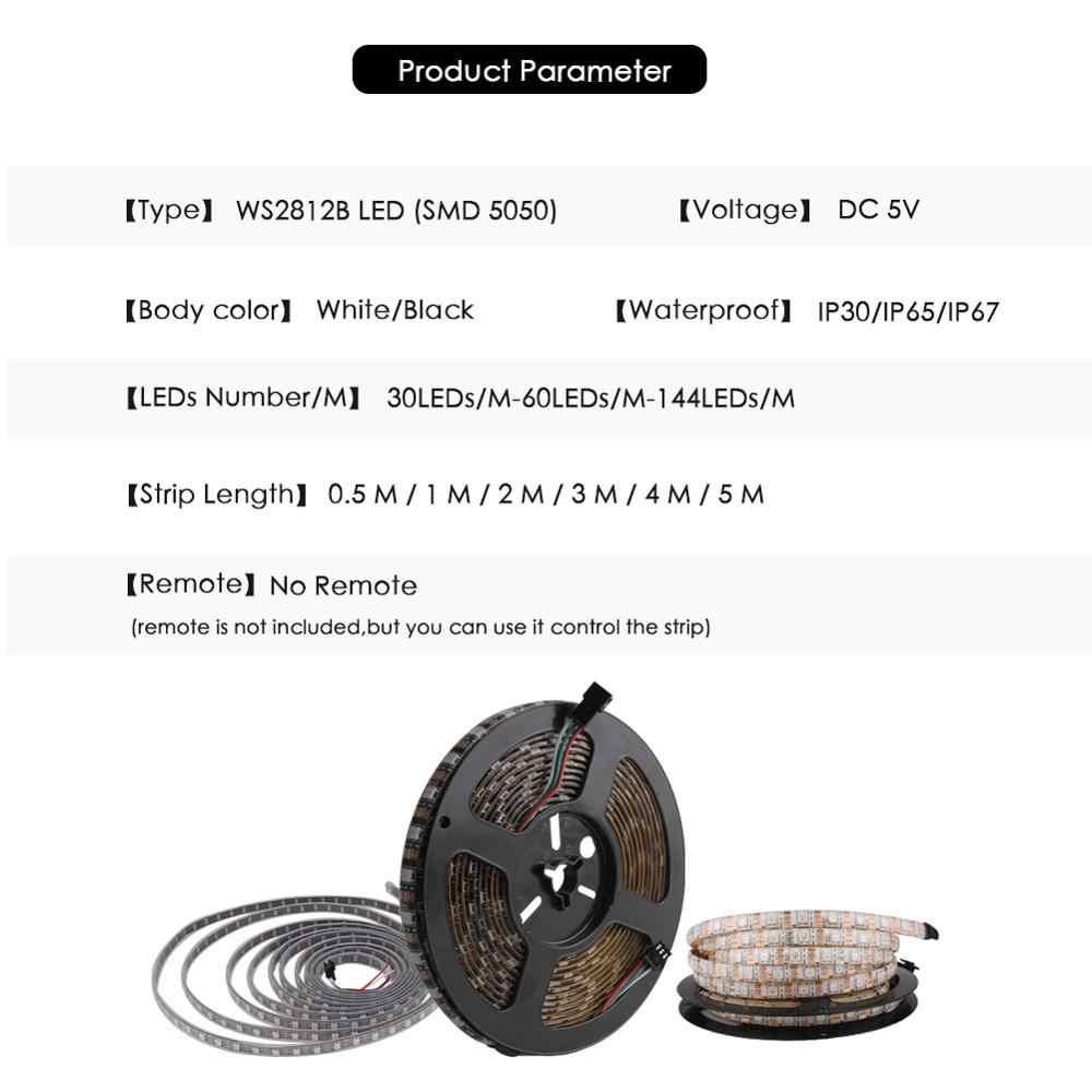 DC 5V WS2812B LED قطاع RGB 50 سنتيمتر 1M 2M 3M 4M 5M الذكية عنونة بكسل الأسود الأبيض PCB WS2812 IC 30/60/144 المصابيح 17Key بار