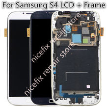 i337 i9505 i9500 i545 m919 E300S LCD For Samsung S4 Lcd touch Screen Digitizer with frame Assembly Mobile Phone parts(China)