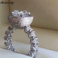 Choucong anillo de compromiso de Plata de Ley 925 con zirconia cúbica, anillo de compromiso con Micro pavé AAAAA, para mujeres