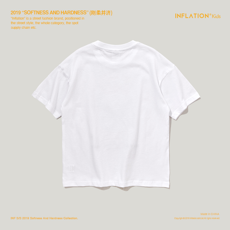 Купить с кэшбэком INFLATION Children Clothes Kids Tshirts Boys Tops Tees Cotton Printed Outdoor Streetwear Girls Tops White T-shirts 19115S