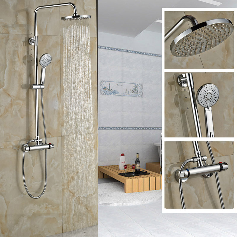Wall Mounted Shower Faucet Set Thermostatic Bath Mixer Shower Exposed Valve Chrome 8