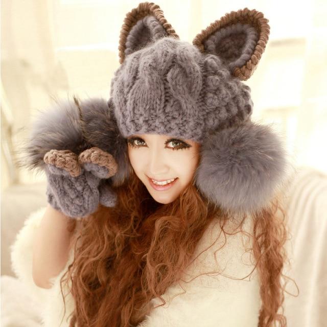 Knitted hat devil horn knitted hat cat ears fox fur ball cap