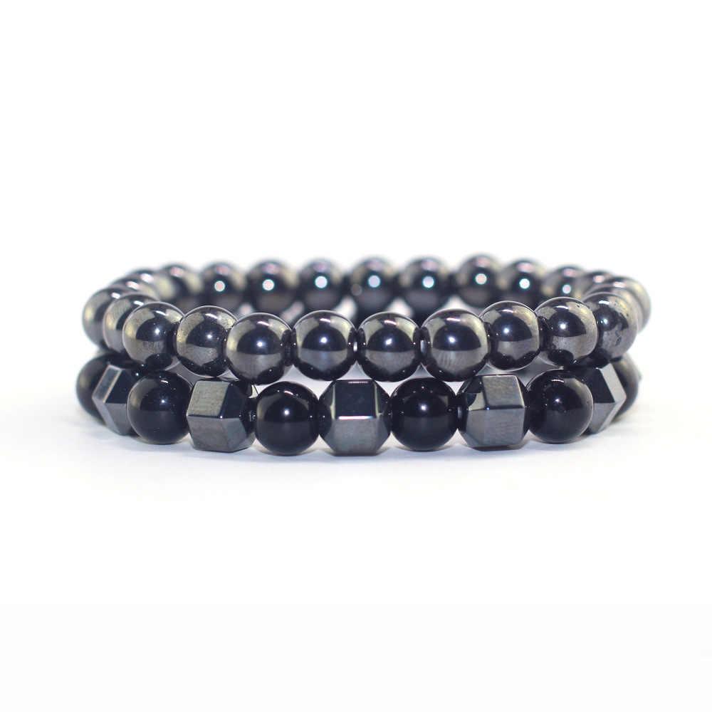 Pulsera magnética de hematita de piedra Natural 2019, pulsera de piedra gris, piedra preciosa negra, pulsera para hombre, pulsera de piedra Natural, joyería