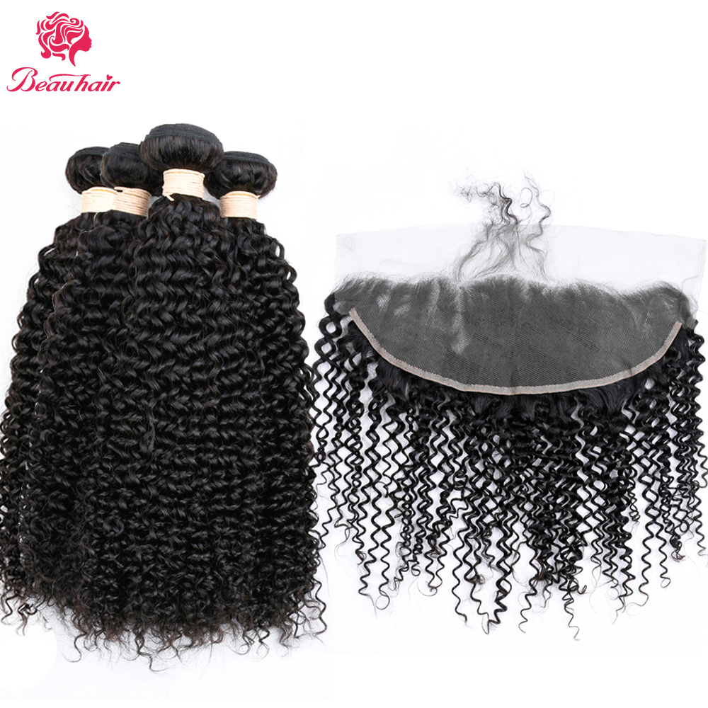 Beau hair Malaysian Human Hair 2/3 Bundles With 13*4Frontal Closure Kinky Curly Hair Weave Lace Frontal Closure With Bundles