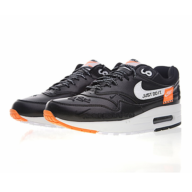Nike Just Do It Air Max 1 Men's Running Shoes, Black and White Orange,  Shock Absorption Skid Abrasion Resistant 917691 002-in Running Shoes from