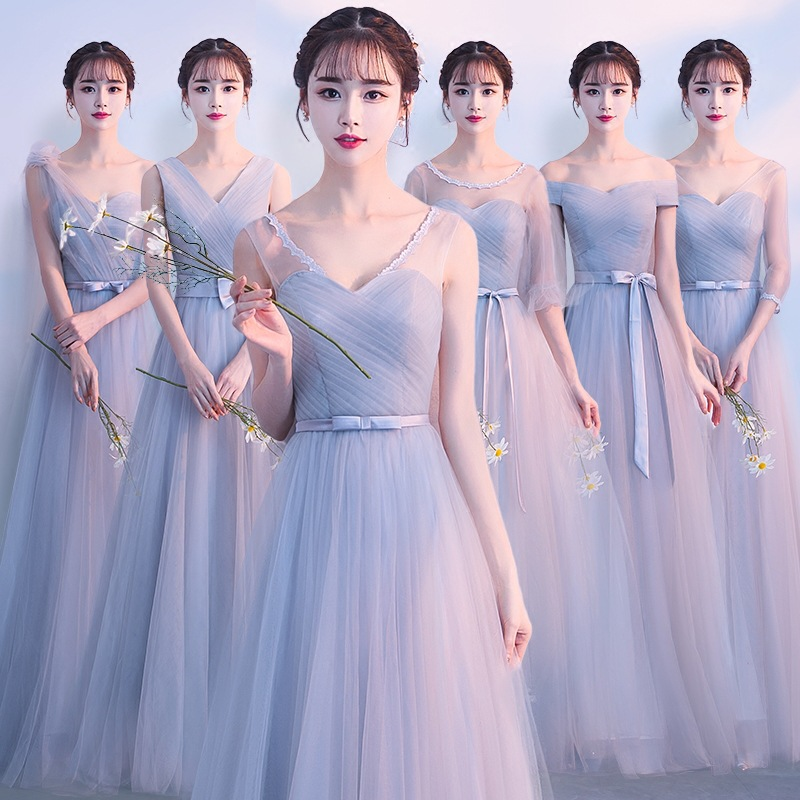 Elegant Dark Grey Lace Bridesmaid Dress Long For Women Formal Wedding Party Homecoming Prom  Reflective Dresses Robe De Soiree
