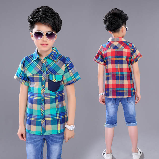 0c18233995531 US $16.11 |2017 New Arrival Boys Summer Style Brand Plaid Shirts Kids  Cotton British style Clothes Boys Short Sleeves Casual Shirts-in Shirts  from ...