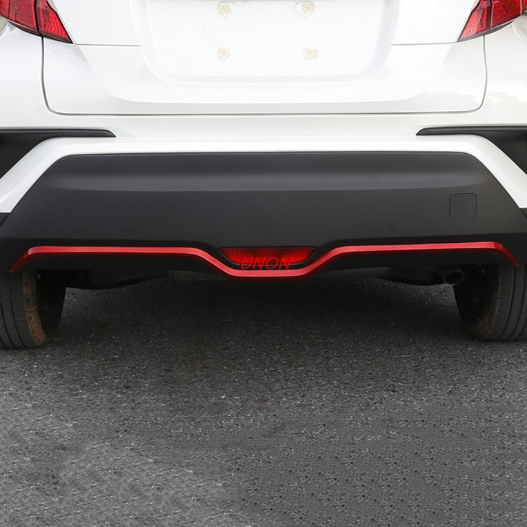 1PCS Red Carbon ABS Chrome Rear Bumper Trim Cover Molding FOR Toyota C-HR CHR 2016 2017 Car Accessories Styling rear spoiler rear trunk wing cover trim for toyota c hr chr 2017 2018 abs chrome carbon fibre stickers car styling accessories