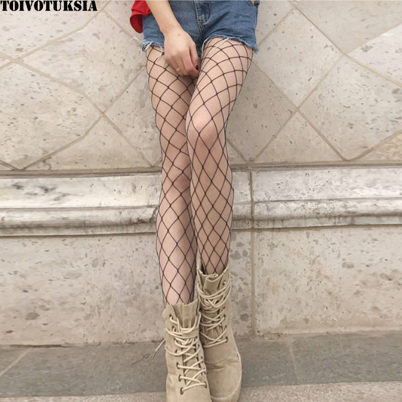 TOIVOTUKSIA Hollow out sexy pantyhose female Mesh black women tights stocking slim fishnet stockings club party hosiery