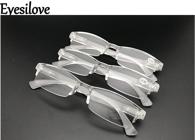 Eyesilove Unisex plastic reading glasses transparent Clear Reading Glasses with spring hinges on the temples