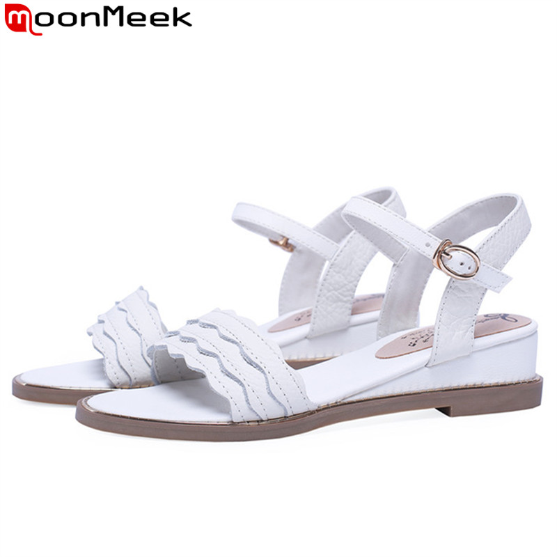 MoonMeek big size 34-43 summer new shoes woman buckle Casual genuine leather shoes women low heels sandals women 2019 MoonMeek big size 34-43 summer new shoes woman buckle Casual genuine leather shoes women low heels sandals women 2019
