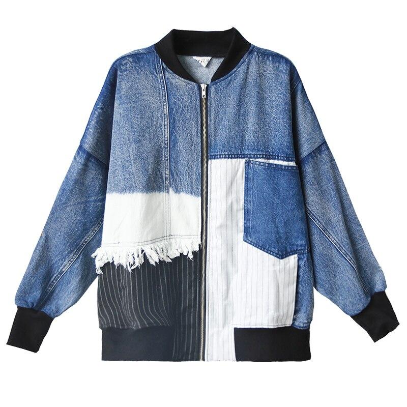 O Cowboy Femelle Spliced Rayures Patchwork Gland Réel cou Coton Nouveau Manteaux Lâche Point Aucun Printemps Veste De Couture 2017 Bleu Plein qX7Ww