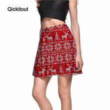 Merry Christmas Hot Product Women's Red Cute Animal Elk With White Dot Digital Print Skirts