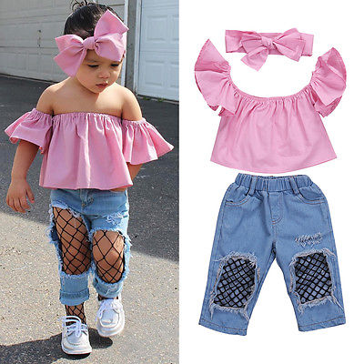 Summer 3pcs Girls Clothing Kids Baby Girls Cute Off Shoulder Pink Tops Holes Denim Pants Headband Outfits Set Clothes 2017 cute kids girl clothing set off shoulder lace white t shirt tops denim pant jeans 2pcs children clothes 2 7y
