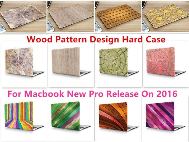 """Древесины Шаблон Дизайна Ноутбук Тела Shell Защитный Футляр для Macbook Нью Pro 13 """"Retina 15"""" w/без Сенсорной Панели Release2016"""