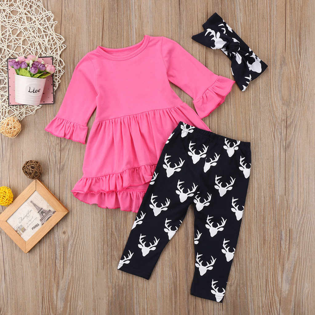 9b4895fb9fc80 Toddler Baby Girls Solid Ruffles Tops Dresses Print Floral Pants Clothing  Sets toddler girl clothes conjuntos