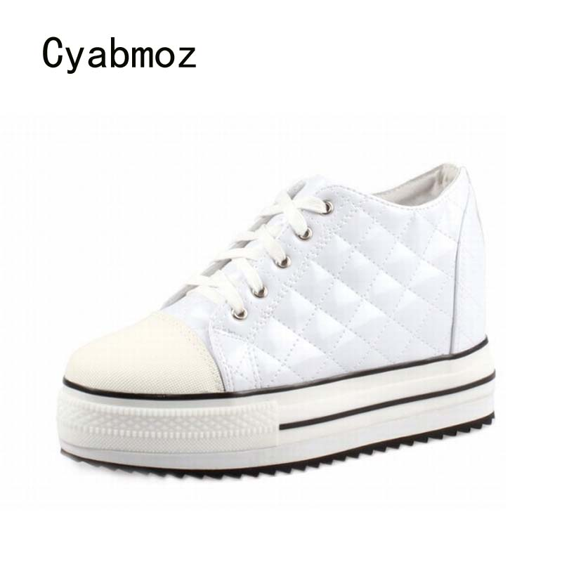 Cyabmoz Platform Wedge Women Shoes Woman Zapatillas deportivas Zapatos mujer Womens Tenis feminino High heels Plaid Ladies Shoes цена и фото