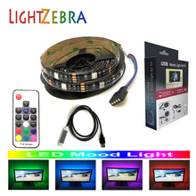 LED strip backlight 5050 RGB 6.6ft 60 LEDs for TV PC monitor with RF wireless 17key remote controller 5V usb powered mood light