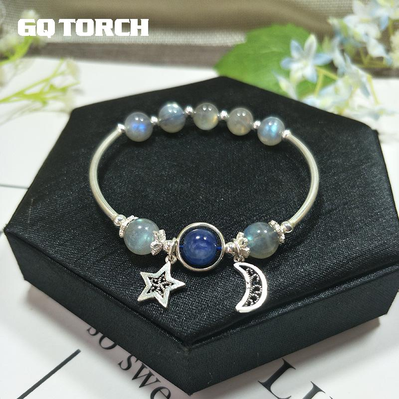 Natural Blue Moonstone Bracelets For Women Real 925 Sterling Silver Jewelry Strawberry Crystal Rose Quartz Hand String