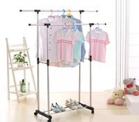 iKayaa US UK FR Stock Garment Rack Metal Double Rail Clothes Garment Dress Hanging Rack Cloth Display Garment Rack Organizer