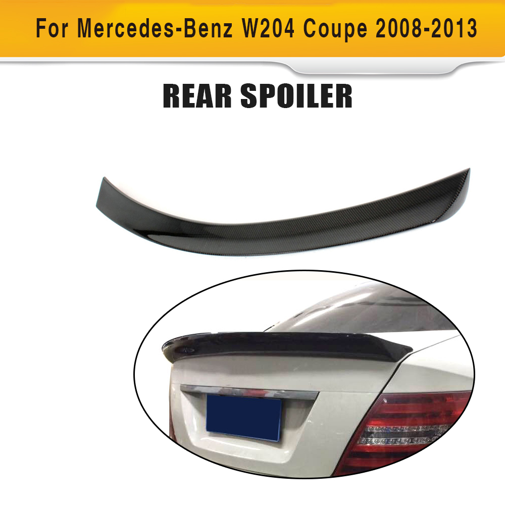 цена C Class Carbon Fiber Rear Trunk Boot Spoiler Wing Lip for Mercedes Benz W204 C204 2 Door Coupe 2008-2014 C63 AMG C200 C250 C300