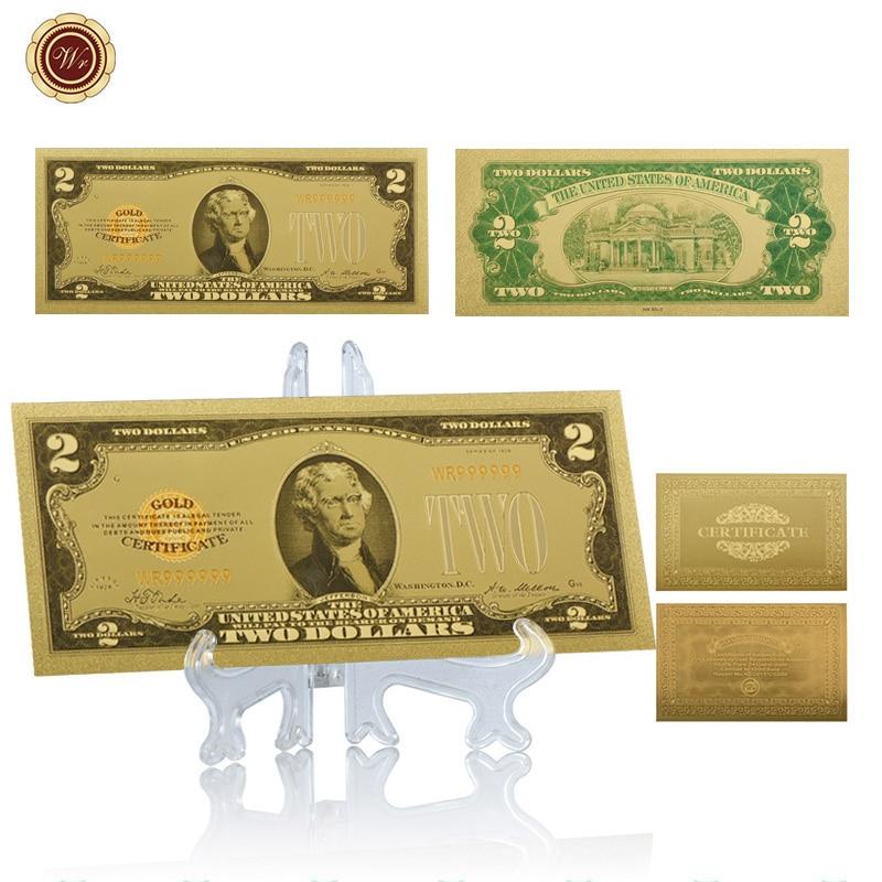 WR американская цветная 24-каратная 999,9 Золотая банкнота 2 доллара США бумажные деньги сувенирные подарки Коллекционная Банкнота с подставко...