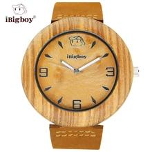 IBigboy Clásico Reloj De Madera Zebrano IB-1601Ca Analógica 12 horas Luminoso Caballeros de Cuero de Cuarzo Relojes de Regalo
