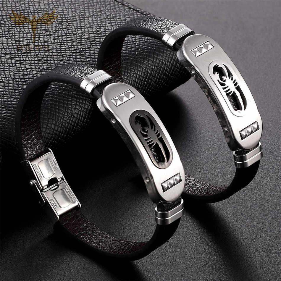 Punk Scorpion Armband Herren Leder Armbänder Hohe Qualität Edelstahl Leder Schmuck für Männer Zubehör Rock Männlich Armreifen