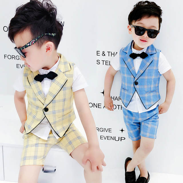 4637a220bcc6e US $15.19 29% OFF|2PCS Vest+Shorts Kids Boys Summer Clothing Sets New  Gentleman Children Wedding Dress Party Wear Plaid Formal Suits F130-in  Clothing ...