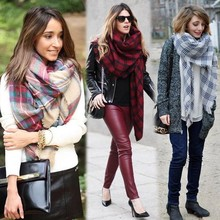 New Fashion Lady Women Winter Infinity Blanket Oversized Shawl Plaid Check Tartan Scarf Wrap