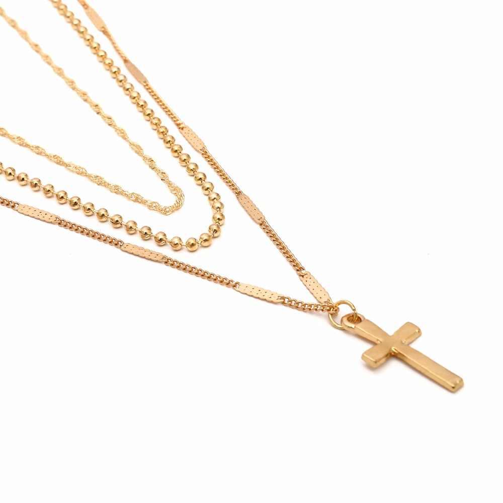 Ретро крест многослойное ожерелье Женская мода простой бизнес дикая цепочка ключицы женское ожерелье ketting Золотое ожерелье