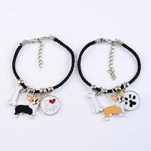 Welsh corgi pembroke charm bracelets for women girls men rope chain silver color alloy pet dog pendant male female wrap bracelet