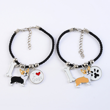 Welsh corgi pembroke charm bracelets for women girls men rope chain silver color alloy pet dog pendant male female wrap bracelet