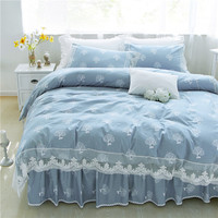 Luxury blue lace bedding sets 100%cotton twin full queen king size quilt cover bed skirt pillowcase Korean princess Home textile