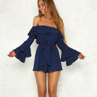 2018 Women Sexy Dot Print Off The Shoulder Jumpsuit Rompers Overalls Flare Sleeve Bodysuit Summer