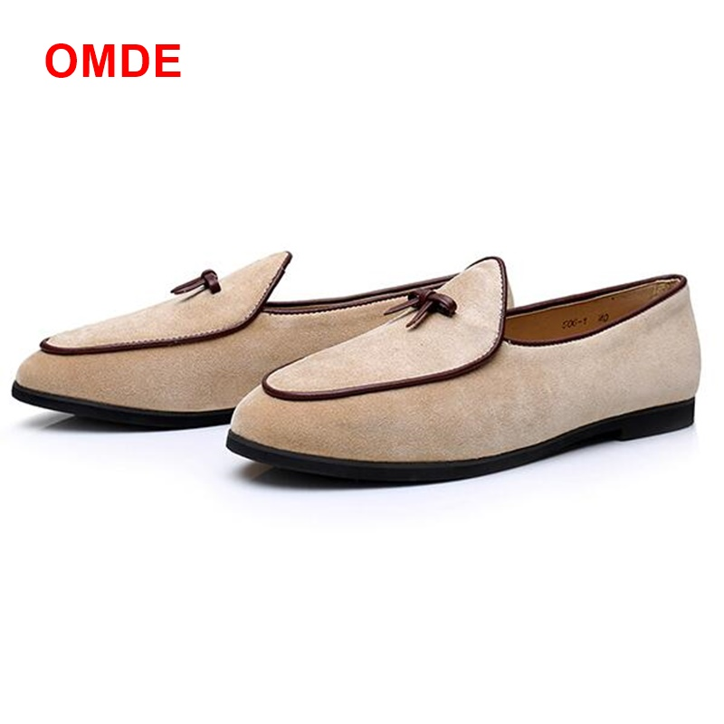OMDE Beige Suede Penny Loafers Men Fashion Breathable ...
