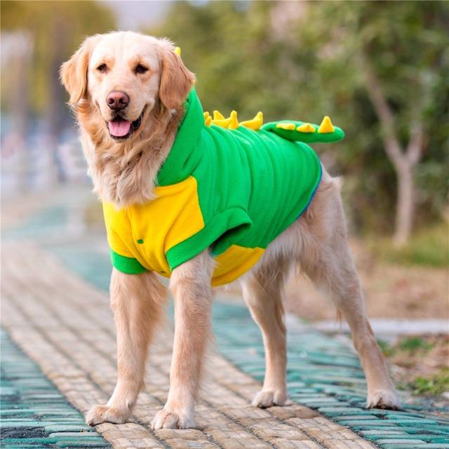 HOOPET Large Dog Velvet Dinosaur Costume Apparel Halloween Pet Warm Suit Hoodie Coat