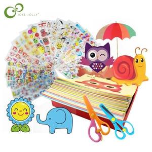 96Pcs/48Pcs Kids Cartoon Color Paper Folding and Cutting Toys Child Kingergarden Art Craft DIY Educational Toy Free Shipping GYH