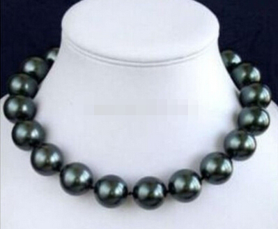 Huge!14mm AAA Black South Sea Shell Pearl Necklace 18>Wholesale Lovely Women's Wedding Jewelry image