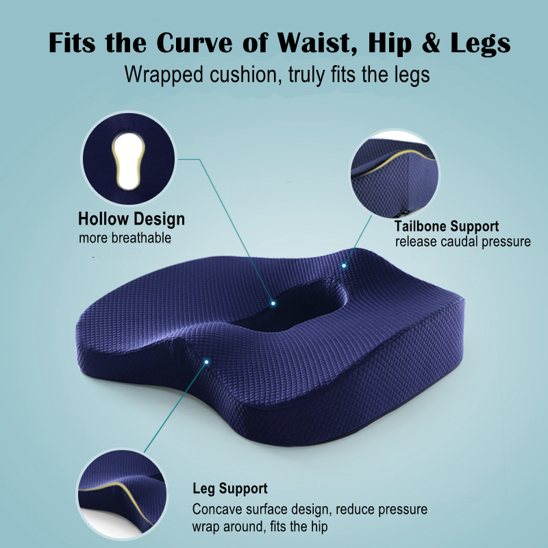 HTB1ilqlah rK1RkHFqDq6yJAFXaF Non-Slip Orthopedic Memory Foam Seat Cushion for Office Chair Car Wheelchair Back Support Sciatica Coccyx Tailbone Pain Relief