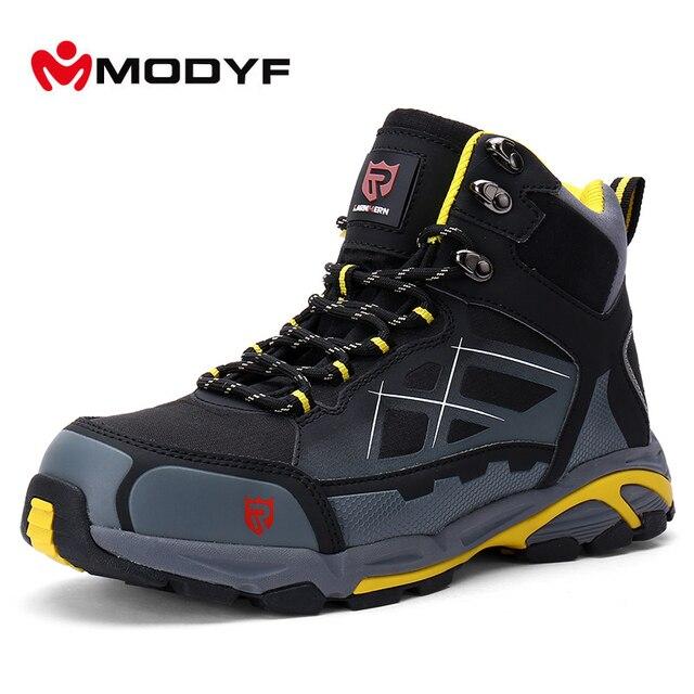 Modyf Для мужчин Нескользящие зимние сапоги Сталь Носок, рабочая безопасная обувь кевлар подошвы открытый тапки модные ботильоны защитная обувь